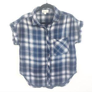 Cloth & Stone Plaid Short Sleeve Button Down Shirt